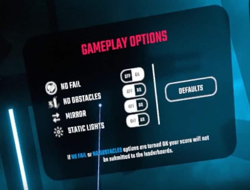 RiftCat Steam VR Beat Saber gameplay options