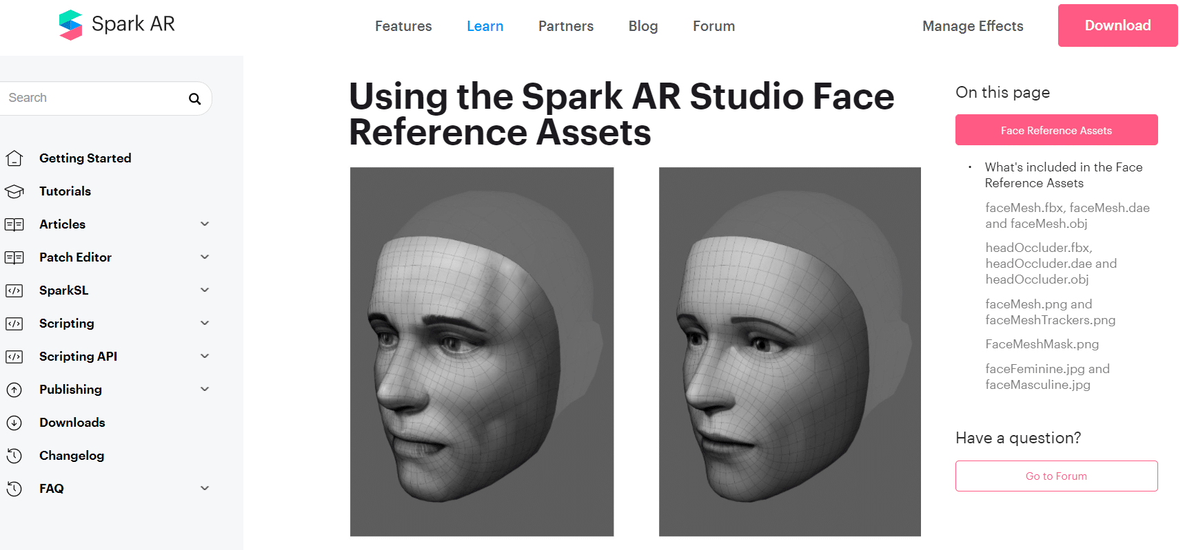 Face reference assets